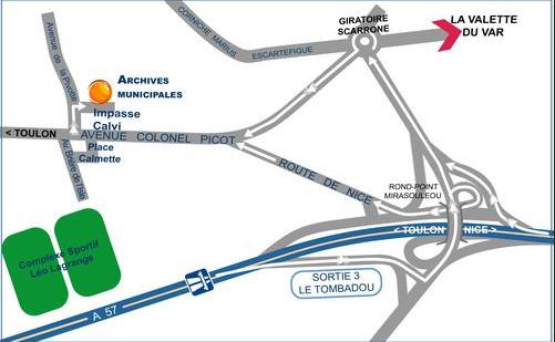 Plan d'accès aux archives municipales de Toulon